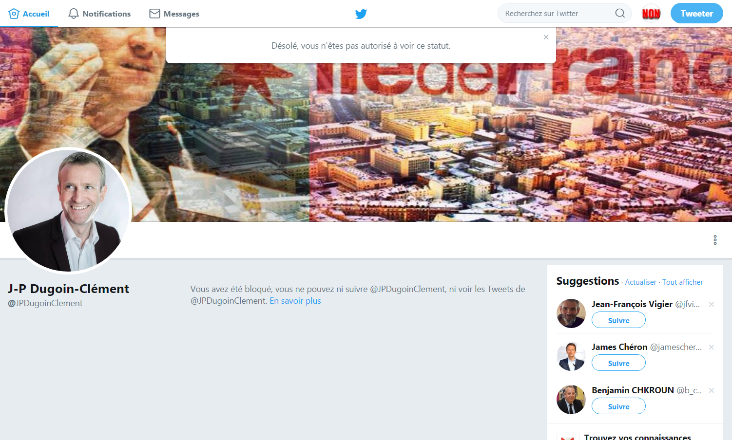 Blocage twitter JP Dugoin